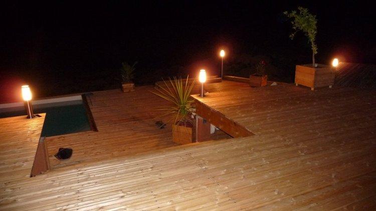terrasse bois eclairage