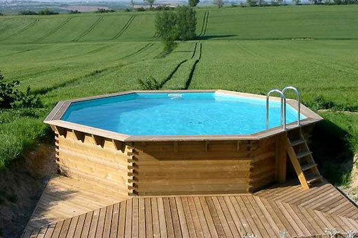 Piscine en bois enterr e for Piscine semi enterree en bois leroy merlin